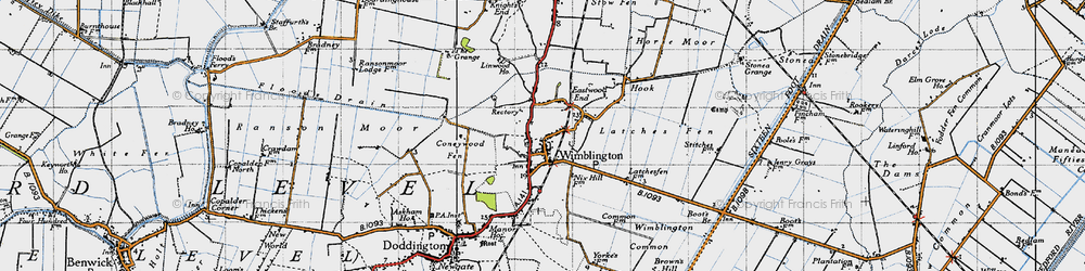 Old map of Wimblington Common in 1946