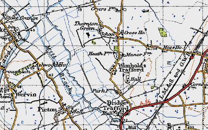 Old map of Wimbolds Trafford in 1947