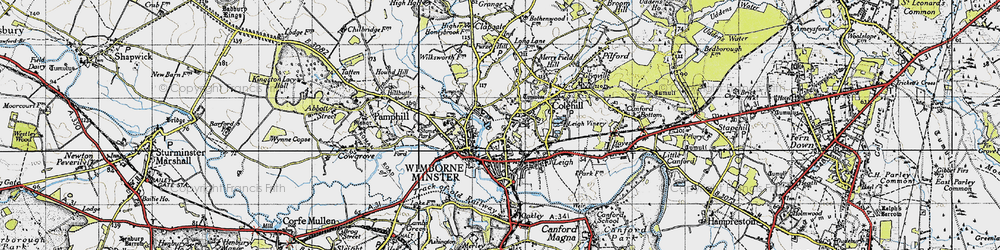 Old map of Wimborne Minster in 1940