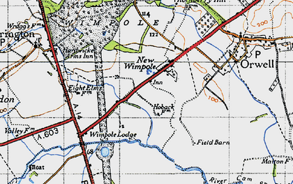 Old map of Wimpole Lodge in 1946