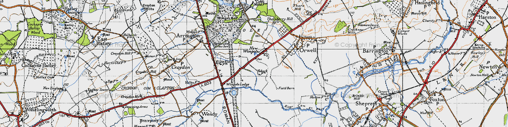 Old map of Wimpole in 1946
