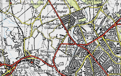 Old map of Wimpson in 1945