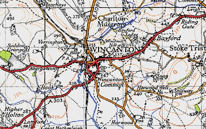 Old map of Wincanton in 1945