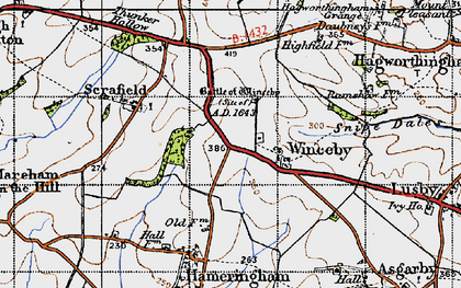 Old map of Winceby in 1946