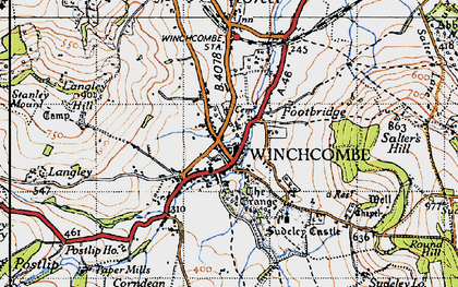Old map of Winchcombe in 1946
