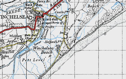 Old map of Winchelsea Beach in 1940