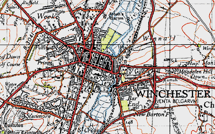 Old map of Winchester in 1945