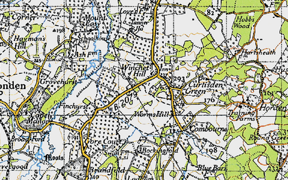 Old map of Winchet Hill in 1940