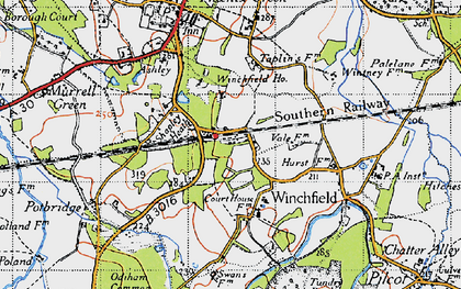 Old map of Winchfield in 1940