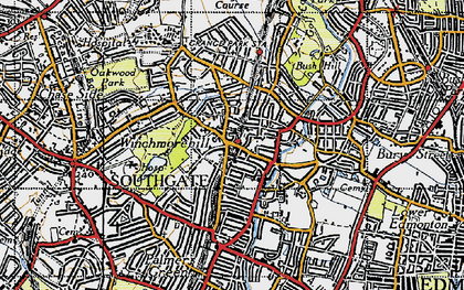 Old map of Winchmore Hill in 1946