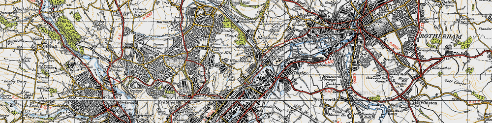 Old map of Wincobank in 1947