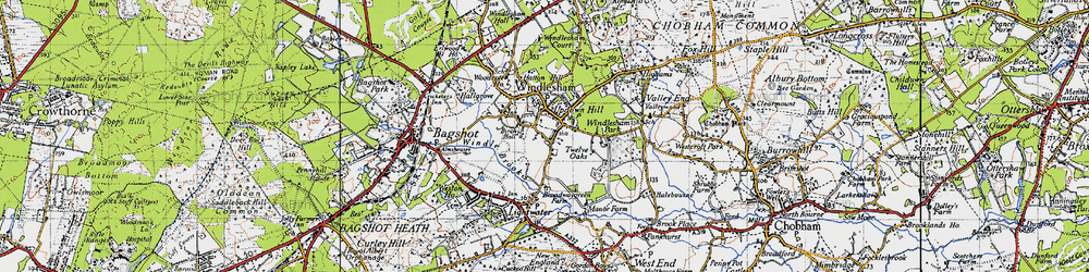Old map of Windlesham in 1940