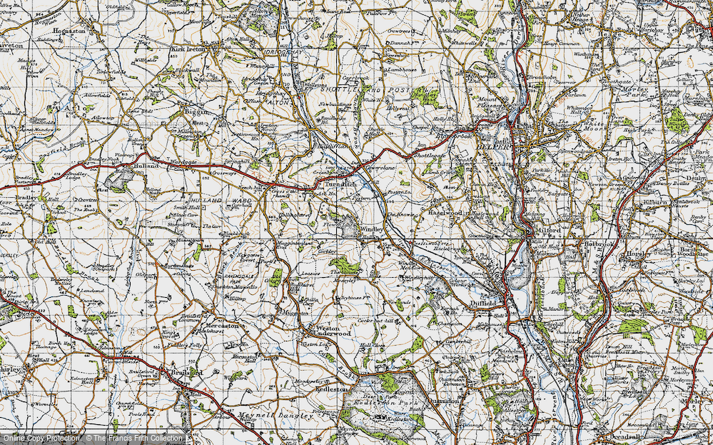 Old Map of Historic Map covering Lilies, The in 1946