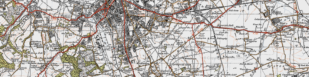Old map of Windy Nook in 1947