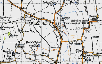 Old map of Winfarthing in 1946