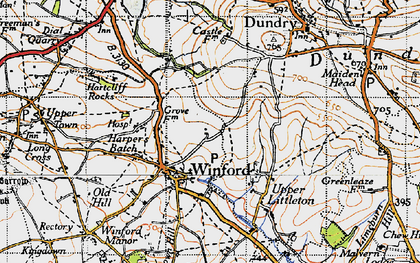 Old map of Winford in 1946