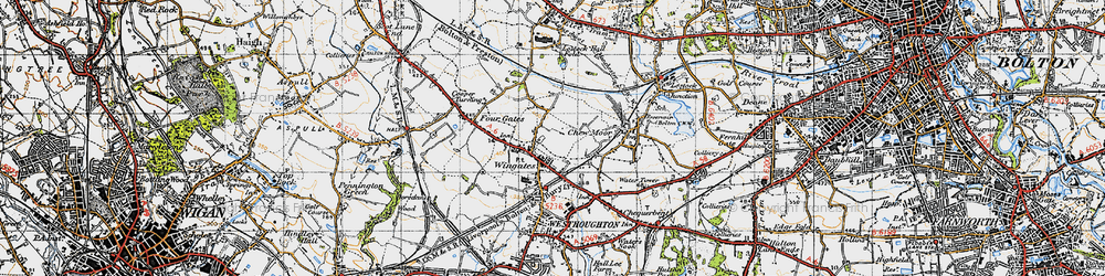 Old map of Wingates in 1947