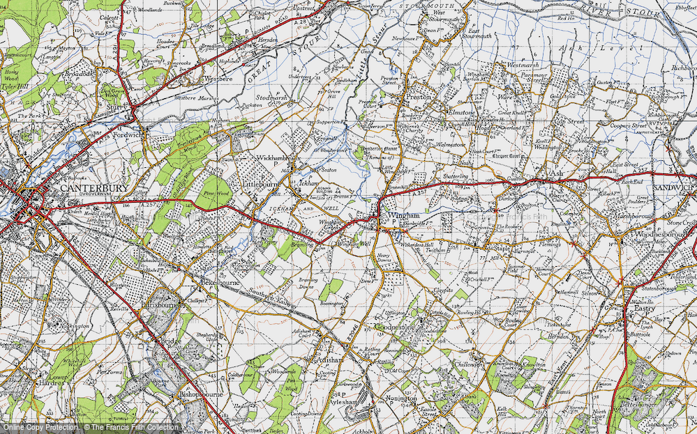 Old Map of Wingham Green, 1947 in 1947
