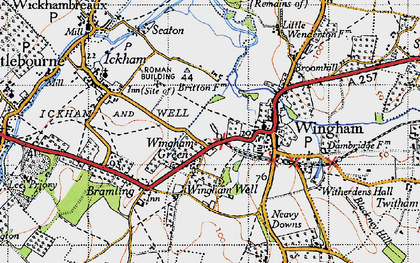 Old map of Wingham Green in 1947