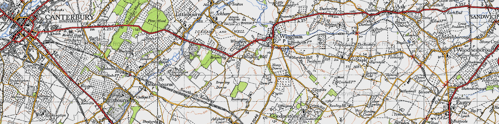 Old map of Wingham Well in 1947