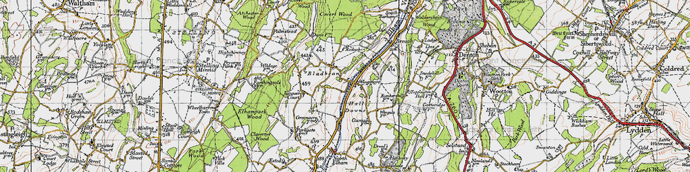 Old map of Wingmore in 1947