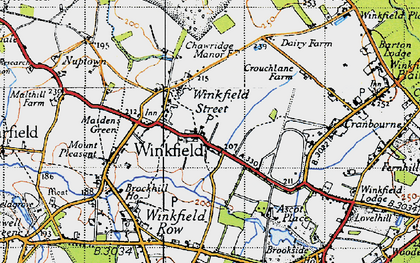 Old map of Winkfield in 1940