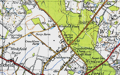 Old map of Winkfield Place in 1940