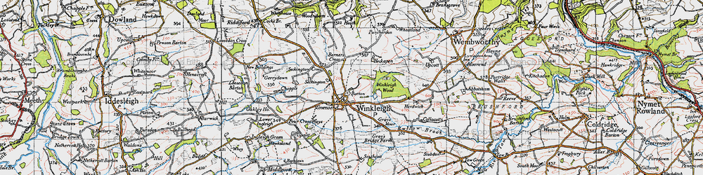 Old map of Winkleigh Wood in 1946