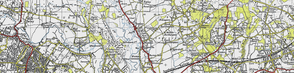 Old map of Winkton in 1940