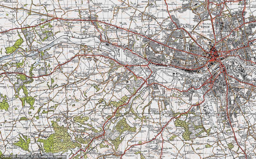 Old Map of Winlaton, 1947 in 1947