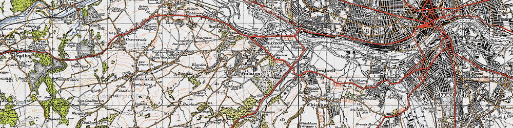 Old map of Winlaton in 1947
