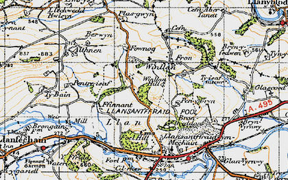 Old map of Winllan Hill in 1947