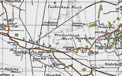 Old map of Winmarleigh Moss in 1947