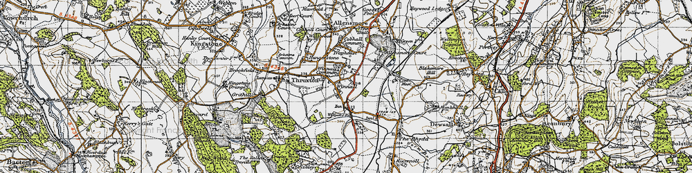 Old map of Winnal Common in 1947