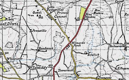 Old map of Winnard's Perch in 1946