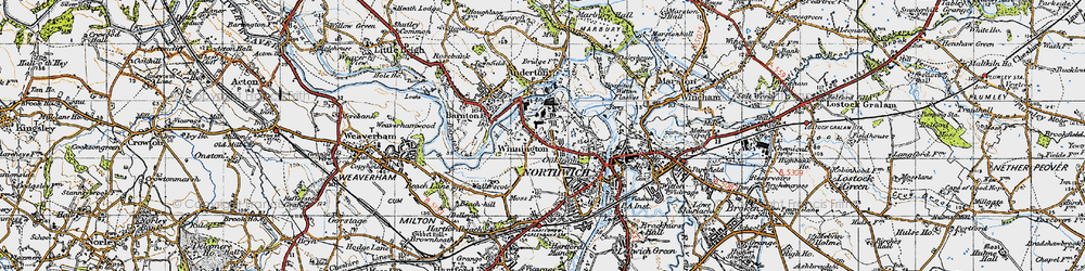 Old map of Winnington in 1947