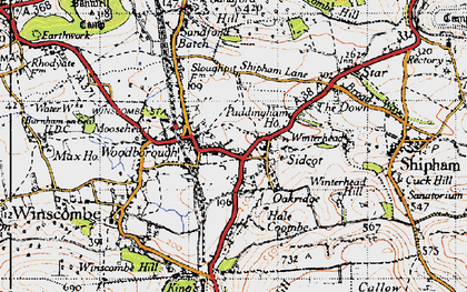 Old map of Winscombe in 1946