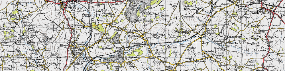 Old map of Winsham in 1945