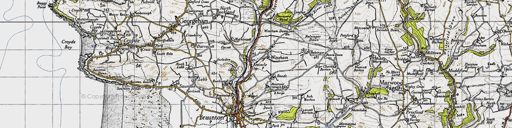 Old map of Winsham in 1946