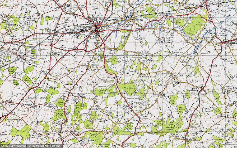 Old Map of Historic Map covering Allwood Copse in 1945