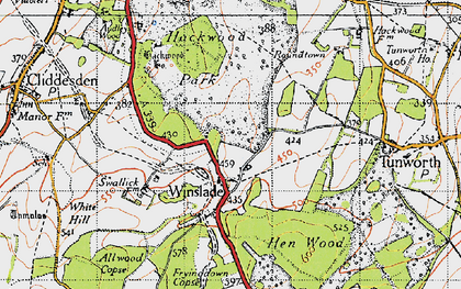 Old map of Winslade in 1945