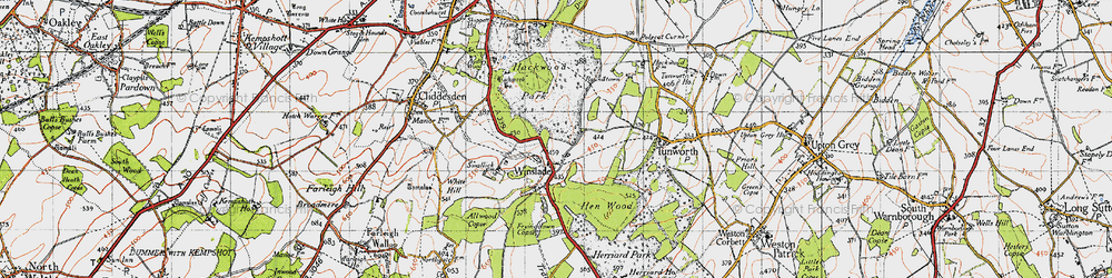 Old map of Allwood Copse in 1945