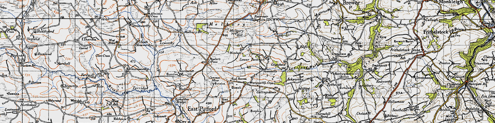 Old map of Wrangworthy Cross in 1946