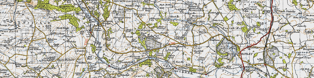 Old map of Winsley in 1947