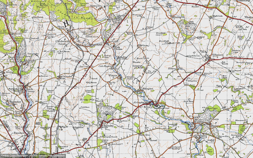 Old Map of Historic Map covering Ablington Downs in 1946