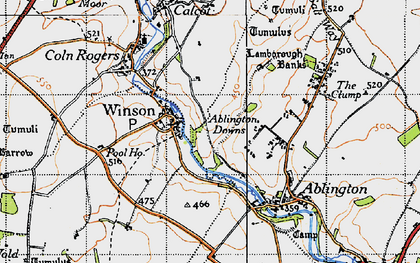 Old map of Ablington Downs in 1946