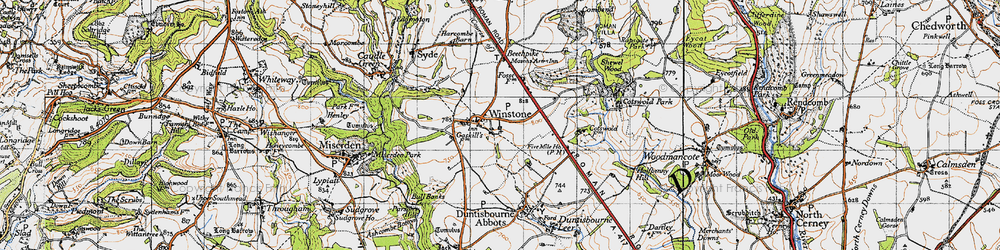 Old map of Winstone in 1946