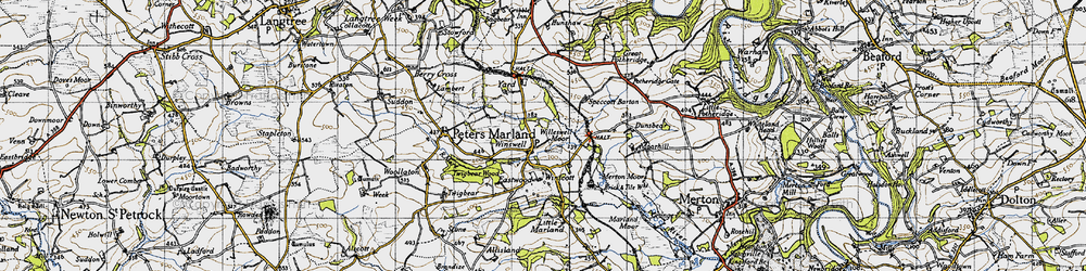 Old map of Winswell Moor in 1946