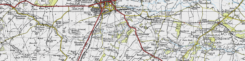 Old map of Winterborne Came in 1945