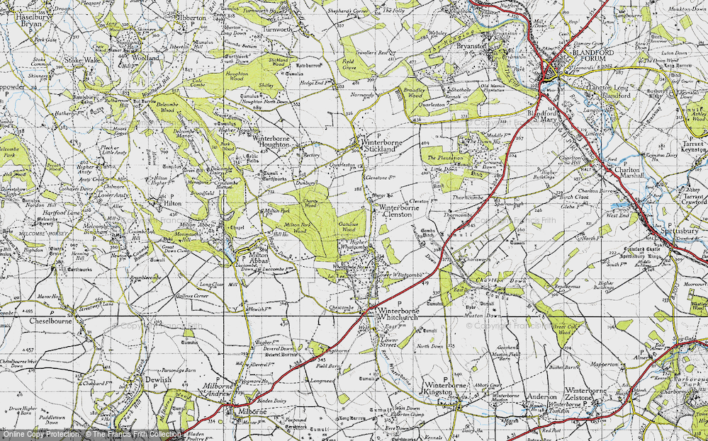 Old Map of Historic Map covering Whatcombe Wood in 1945